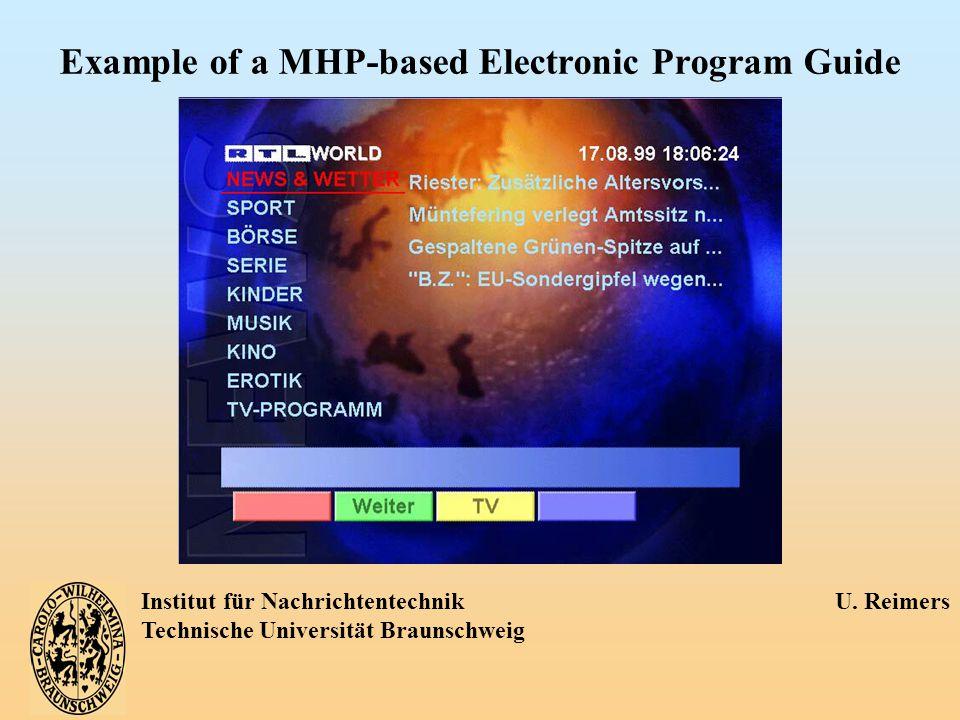 Institut für Nachrichtentechnik U. Reimers Technische Universität Braunschweig Example of a MHP-based Electronic Program Guide