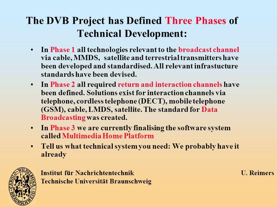 Institut für Nachrichtentechnik U. Reimers Technische Universität Braunschweig The DVB Project has Defined Three Phases of Technical Development: In P