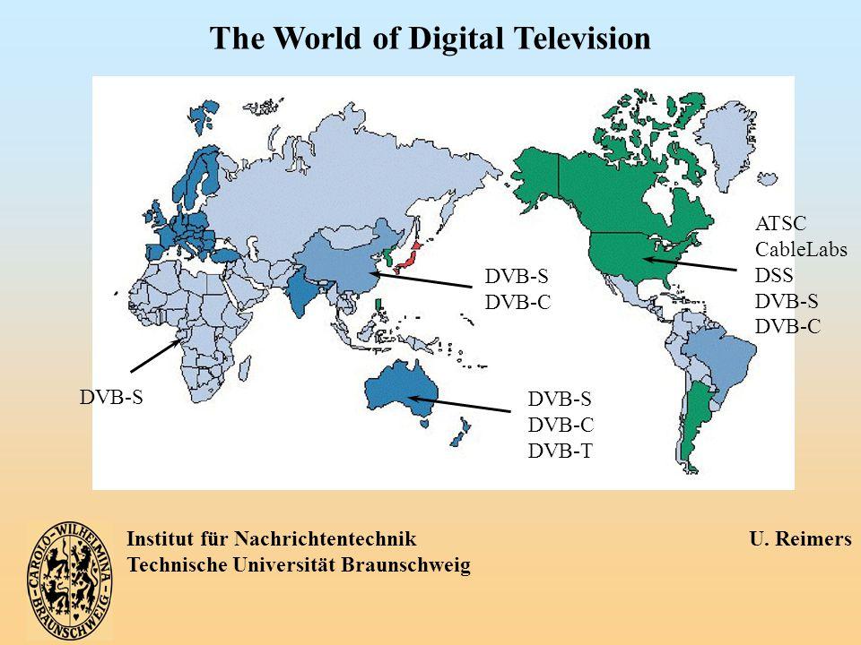 Institut für Nachrichtentechnik U. Reimers Technische Universität Braunschweig The World of Digital Television DVB-S DVB-C DVB-S DVB-C DVB-T ATSC Cabl