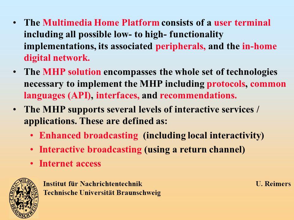 Institut für Nachrichtentechnik U. Reimers Technische Universität Braunschweig The Multimedia Home Platform consists of a user terminal including all