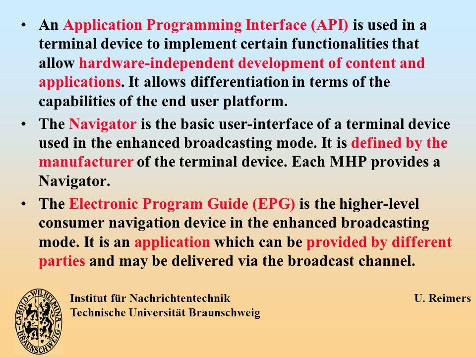 Institut für Nachrichtentechnik U. Reimers Technische Universität Braunschweig An Application Programming Interface (API) is used in a terminal device