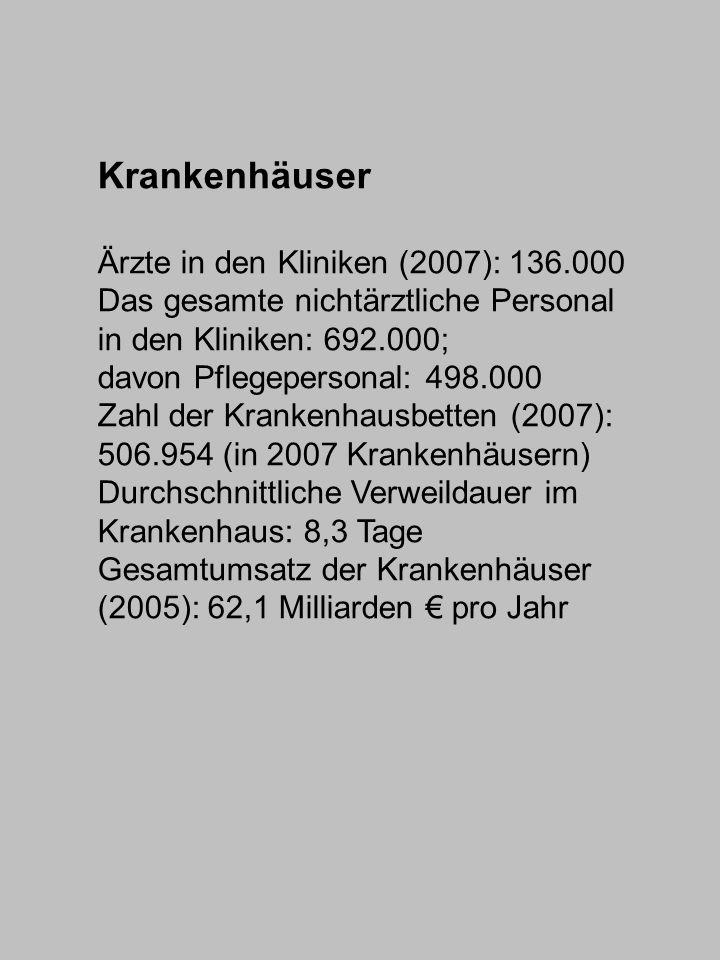 Krankenhäuser Ärzte in den Kliniken (2007): 136.000 Das gesamte nichtärztliche Personal in den Kliniken: 692.000; davon Pflegepersonal: 498.000 Zahl d