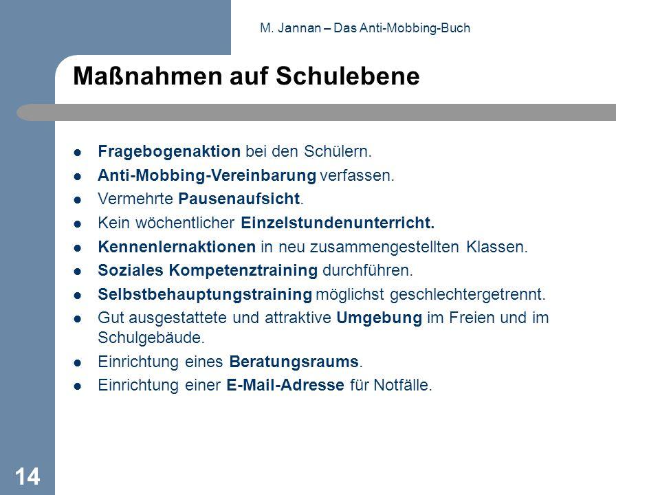 M. Jannan – Das Anti-Mobbing-Buch 14 Maßnahmen auf Schulebene Fragebogenaktion bei den Schülern. Anti-Mobbing-Vereinbarung verfassen. Vermehrte Pausen