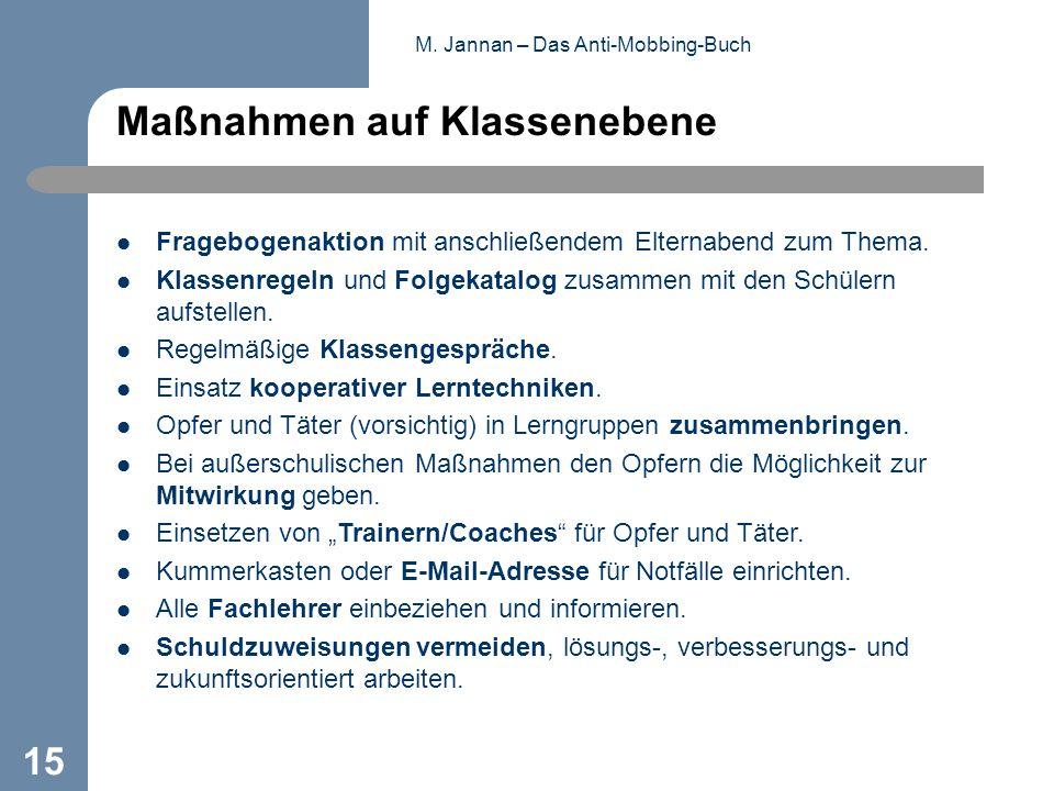 M. Jannan – Das Anti-Mobbing-Buch 15 Maßnahmen auf Klassenebene Fragebogenaktion mit anschließendem Elternabend zum Thema. Klassenregeln und Folgekata