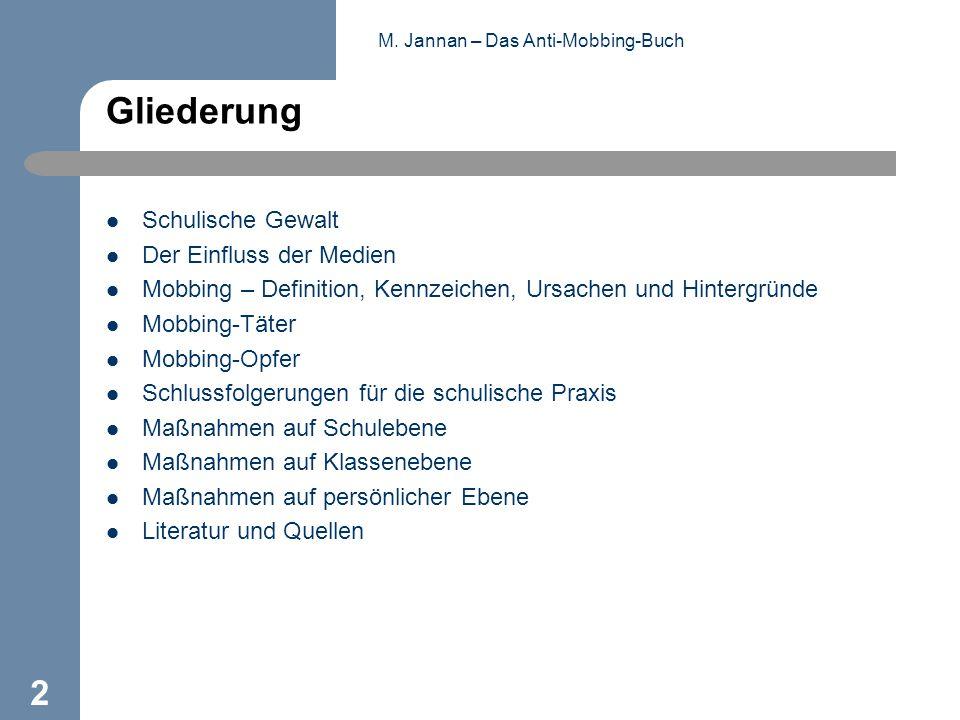 M. Jannan – Das Anti-Mobbing-Buch 2 Gliederung Schulische Gewalt Der Einfluss der Medien Mobbing – Definition, Kennzeichen, Ursachen und Hintergründe