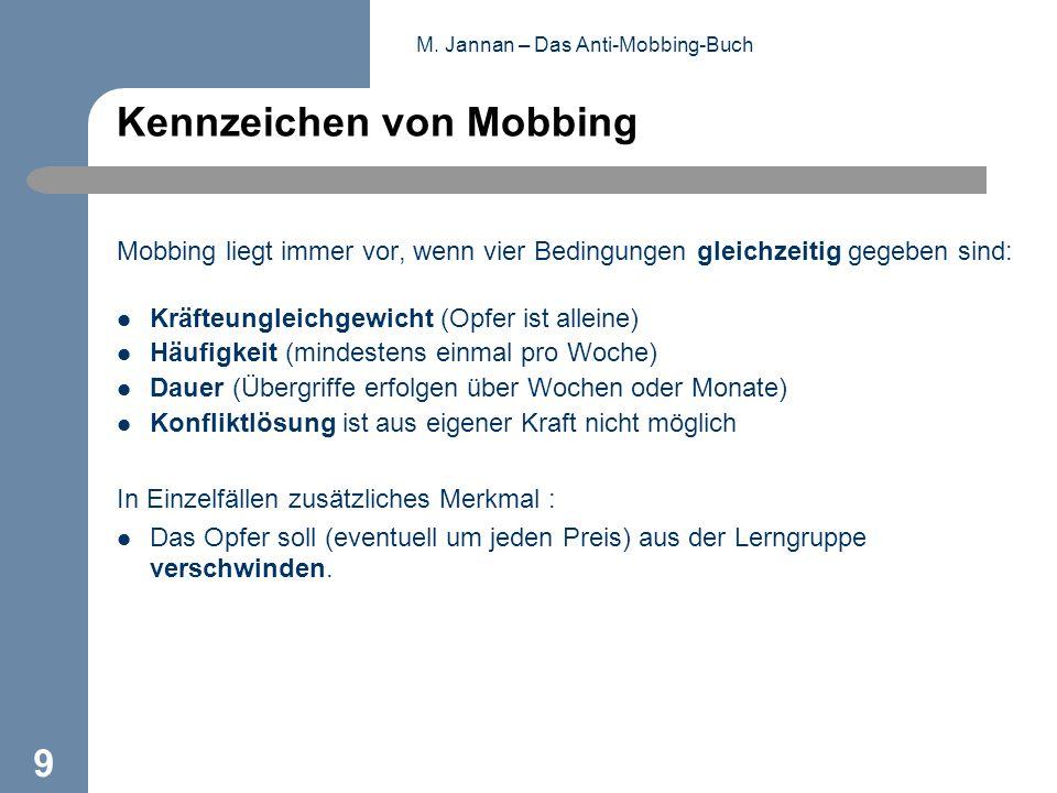M. Jannan – Das Anti-Mobbing-Buch 9 Kennzeichen von Mobbing Mobbing liegt immer vor, wenn vier Bedingungen gleichzeitig gegeben sind: Kräfteungleichge