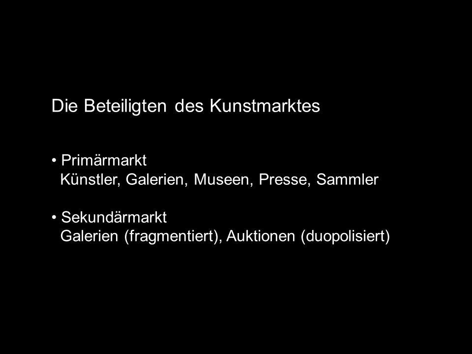 Die Beteiligten des Kunstmarktes Primärmarkt Künstler, Galerien, Museen, Presse, Sammler Sekundärmarkt Galerien (fragmentiert), Auktionen (duopolisiert)