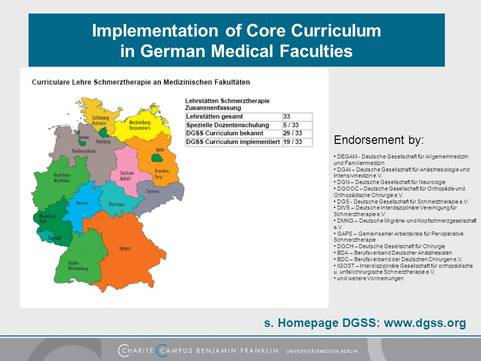 s. Homepage DGSS: www.dgss.org Implementation of Core Curriculum in German Medical Faculties Endorsement by: DEGAM - Deutsche Gesellschaft für Allgeme