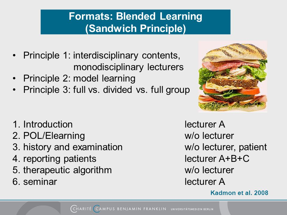 Formats: Blended Learning (Sandwich Principle) Principle 1: interdisciplinary contents, monodisciplinary lecturers Principle 2: model learning Princip