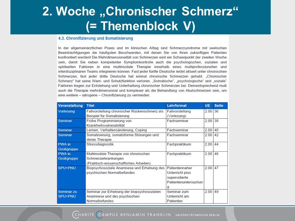 """2. Woche """"Chronischer Schmerz"""" (= Themenblock V)"""