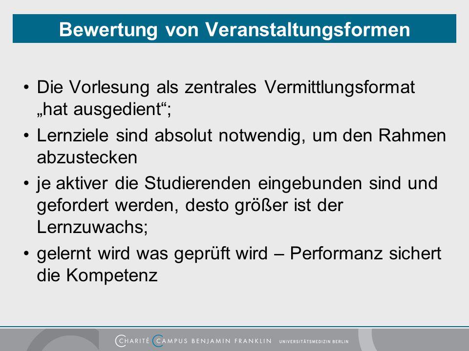 """Bewertung von Veranstaltungsformen Die Vorlesung als zentrales Vermittlungsformat """"hat ausgedient""""; Lernziele sind absolut notwendig, um den Rahmen ab"""