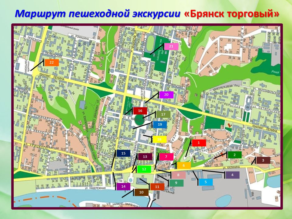 Маршрут пешеходной экскурсии «Брянск торговый» 1 2 3 4 5 6 8 7 9 10 11 12 13 14 15 16 17 18 19 20 21 22