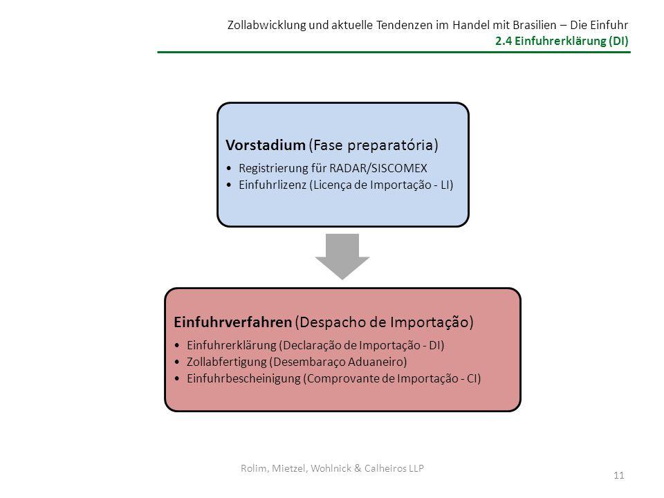 Zollabwicklung und aktuelle Tendenzen im Handel mit Brasilien – Die Einfuhr 2.4 Einfuhrerklärung (DI) Vorstadium (Fase preparatória) Registrierung für