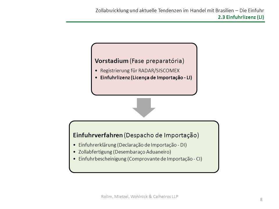 Zollabwicklung und aktuelle Tendenzen im Handel mit Brasilien – Die Einfuhr 2.3 Einfuhrlizenz (LI) Einfuhrverfahren Einfuhrerklärung (DI) Einfuhrverfahren Einfuhrerklärung (DI) Bei festgestellter Unregelmäßigkeit: Verpflichtung zur Vernichtung oder (Rück-)Verschiffung der Ware Einfuhren, die von der Lizenzpflicht ausgenommen sind (ohne Einfuhrlizenz) 9 Einfuhren, die eine Lizenz benötigen Automatische LizenzNicht-Automatische Lizenz R Registrierung via Siscomex Erteilung der Einfuhrlizenz durch die zuständige(n) Regulierungsberhörde(n) Verladen der Waren Löschung der Waren im Zielland Überprüfung der Waren Beantragung via Siscomex Rolim, Mietzel, Wohlnick & Calheiros LLP
