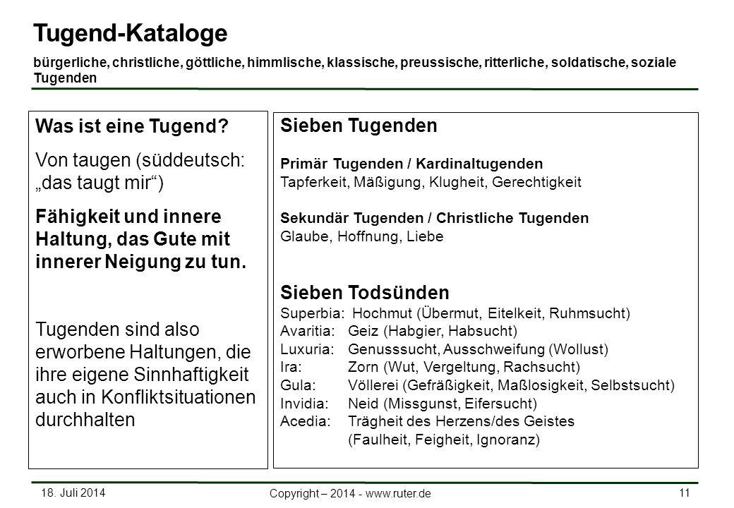 18. Juli 2014 11 Copyright – 2014 - www.ruter.de Tugend-Kataloge bürgerliche, christliche, göttliche, himmlische, klassische, preussische, ritterliche