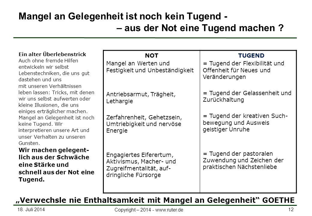 18. Juli 2014 12 Copyright – 2014 - www.ruter.de Mangel an Gelegenheit ist noch kein Tugend - – aus der Not eine Tugend machen ? Ein alter Überlebenst