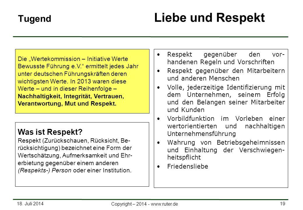 18. Juli 2014 19 Copyright – 2014 - www.ruter.de Tugend Liebe und Respekt Respekt gegenüber den vor- handenen Regeln und Vorschriften Respekt gegenübe
