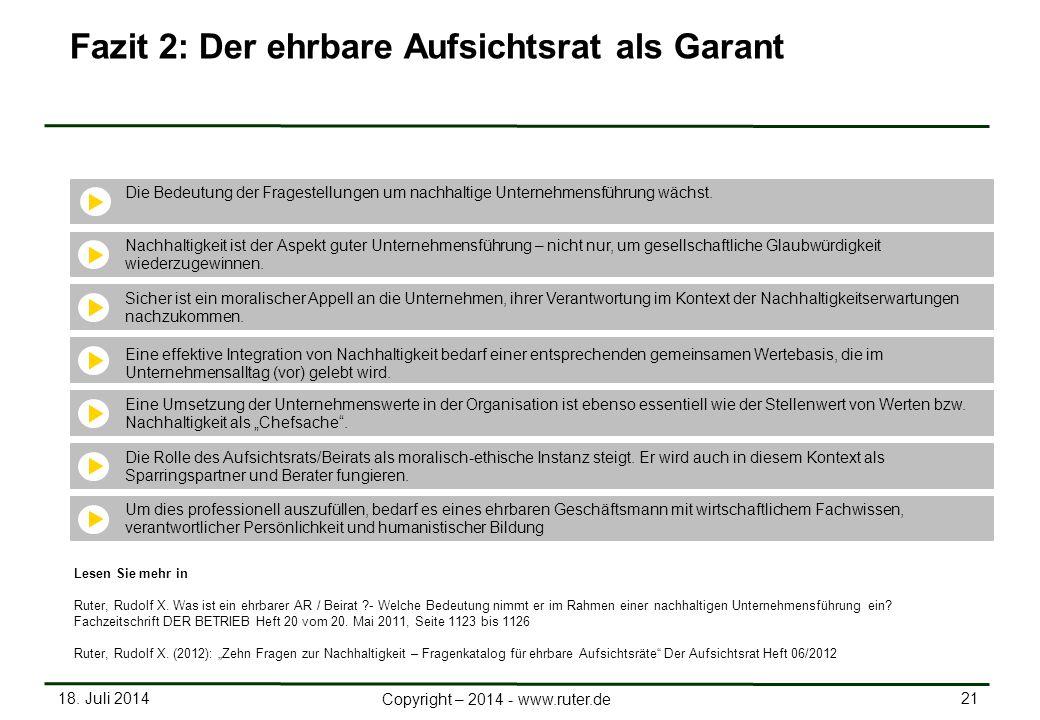 18. Juli 2014 21 Copyright – 2014 - www.ruter.de Fazit 2: Der ehrbare Aufsichtsrat als Garant Die Bedeutung der Fragestellungen um nachhaltige Unterne