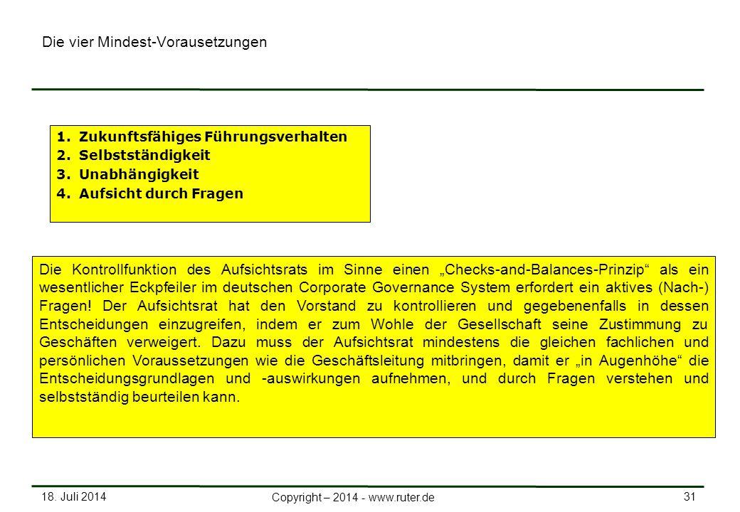18. Juli 2014 31 Copyright – 2014 - www.ruter.de Die vier Mindest-Vorausetzungen 1.Zukunftsfähiges Führungsverhalten 2.Selbstständigkeit 3.Unabhängigk