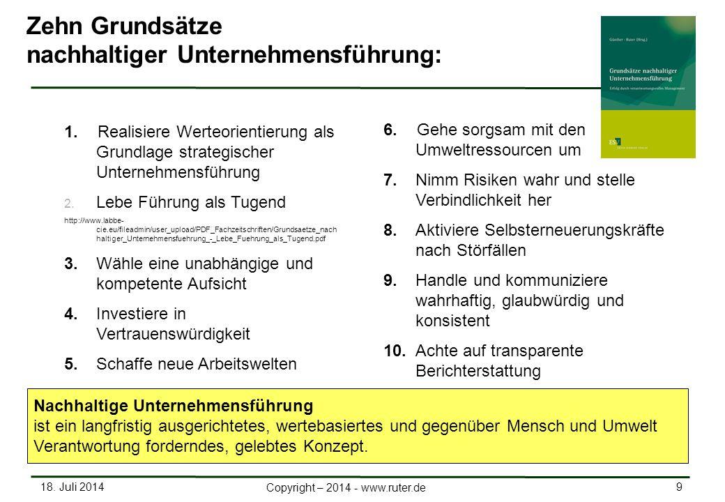18. Juli 2014 9 Copyright – 2014 - www.ruter.de 1.Realisiere Werteorientierung als Grundlage strategischer Unternehmensführung 2. Lebe Führung als Tug