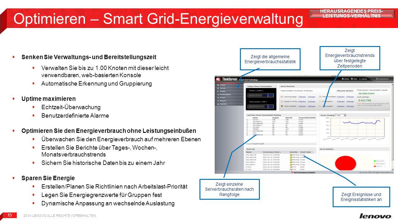 15 Optimieren – Smart Grid-Energieverwaltung  Senken Sie Verwaltungs- und Bereitstellungszeit  Verwalten Sie bis zu 1.00 Knoten mit dieser leicht ve