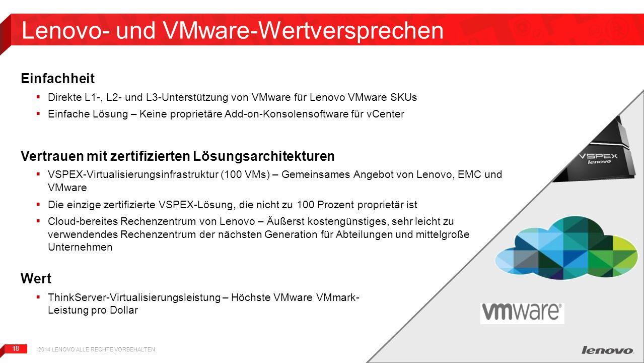 18 Lenovo- und VMware-Wertversprechen Einfachheit  Direkte L1-, L2- und L3-Unterstützung von VMware für Lenovo VMware SKUs  Einfache Lösung – Keine