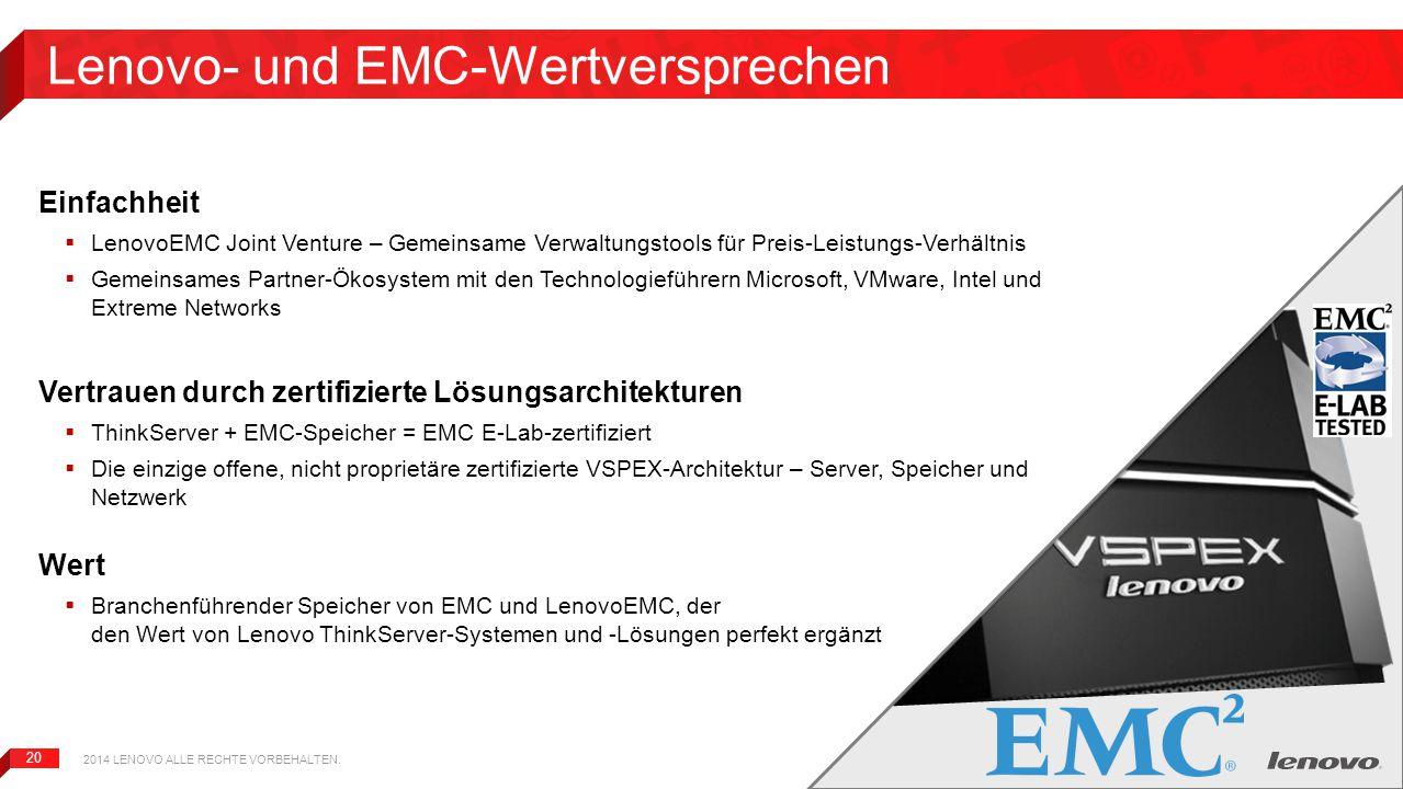 20 Lenovo- und EMC-Wertversprechen Einfachheit  LenovoEMC Joint Venture – Gemeinsame Verwaltungstools für Preis-Leistungs-Verhältnis  Gemeinsames Pa