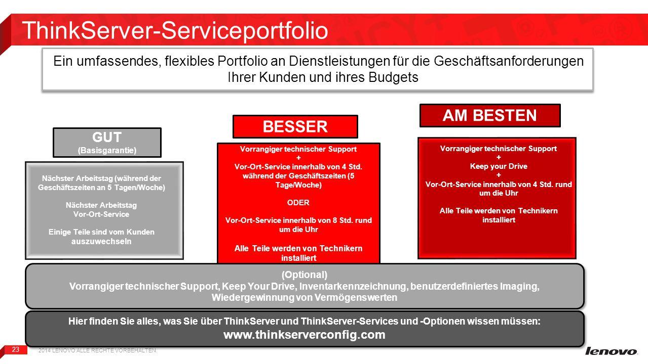 23 ThinkServer-Serviceportfolio Ein umfassendes, flexibles Portfolio an Dienstleistungen für die Geschäftsanforderungen Ihrer Kunden und ihres Budgets