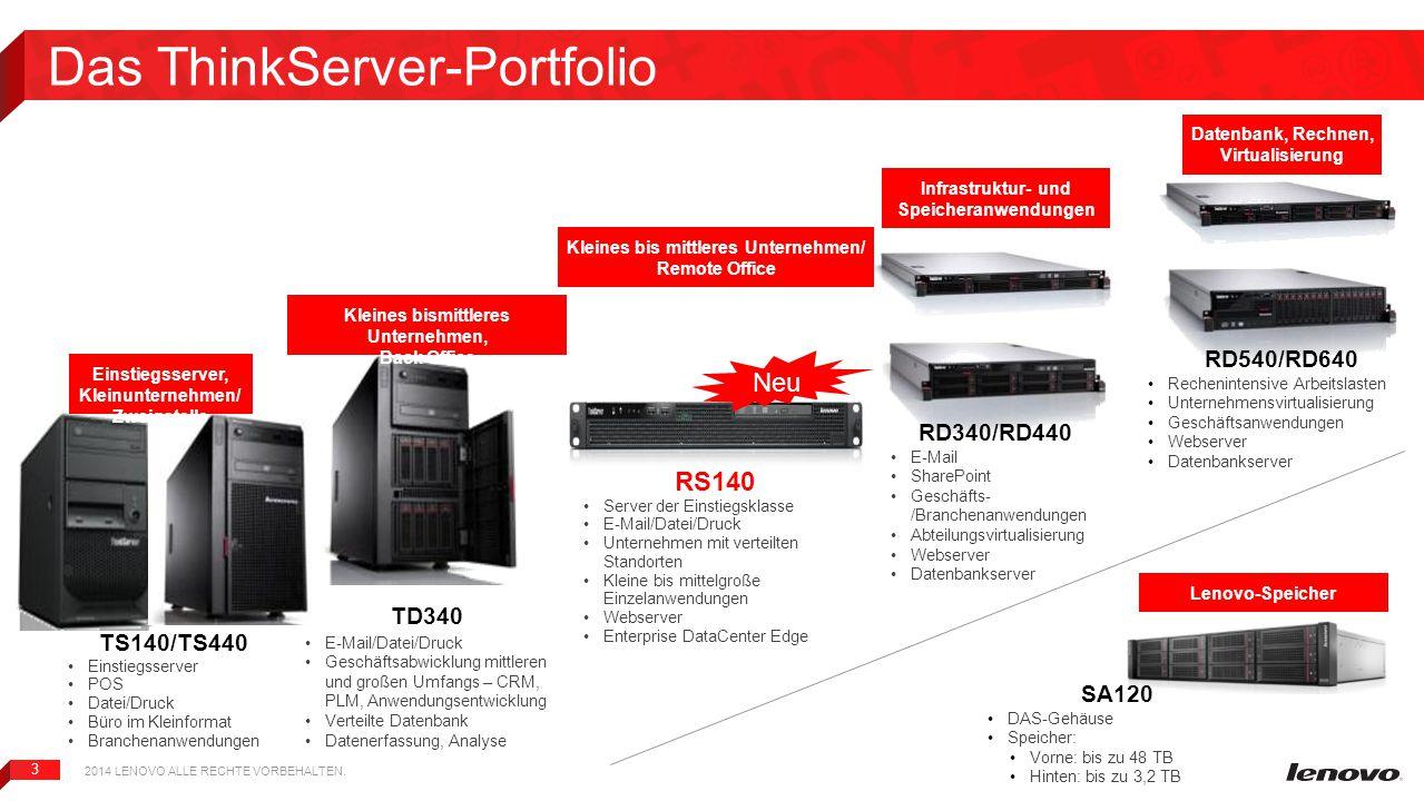 3 Das ThinkServer-Portfolio TS140/TS440 Einstiegsserver POS Datei/Druck Büro im Kleinformat Branchenanwendungen RD340/RD440 E-Mail SharePoint Geschäft