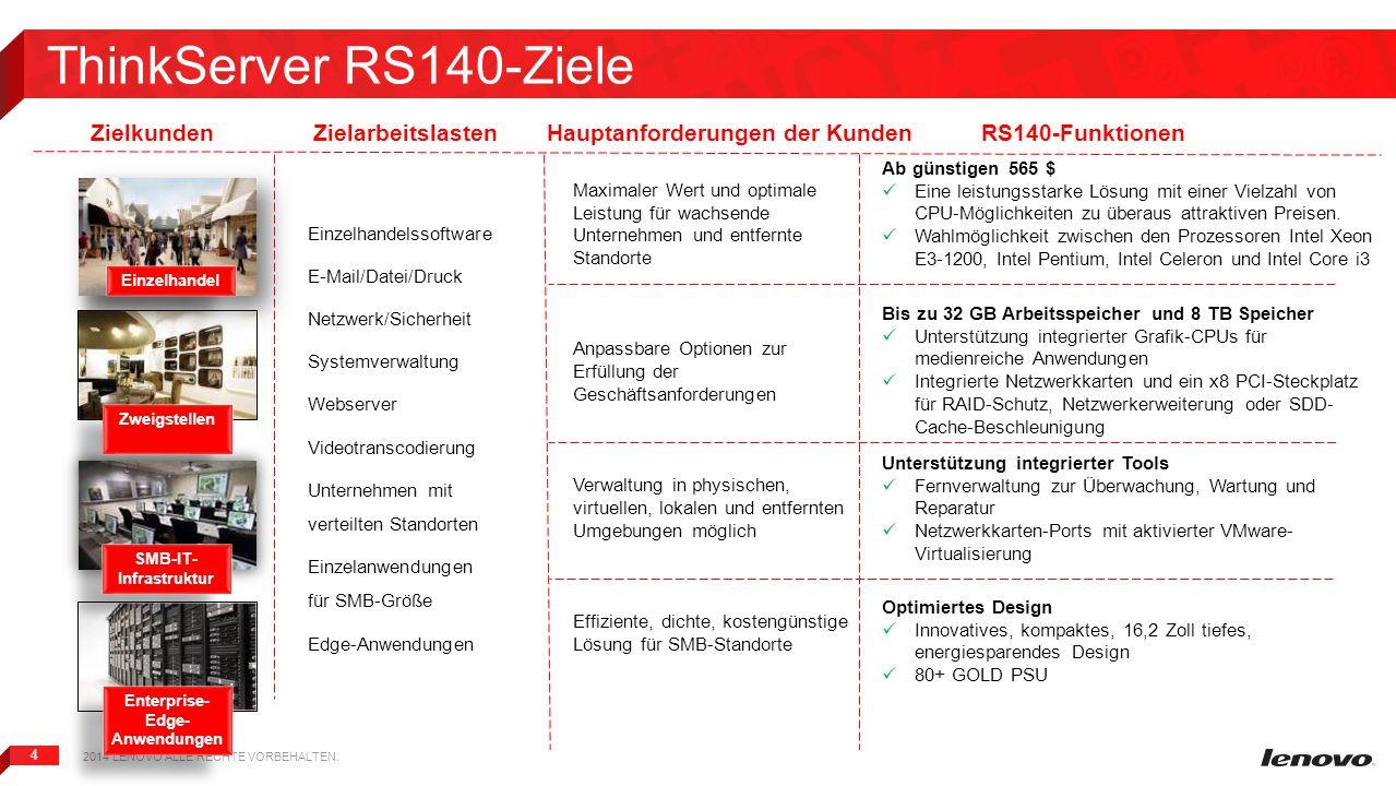 4 ThinkServer RS140-Ziele 2014 LENOVO ALLE RECHTE VORBEHALTEN. Enterprise- Edge- Anwendungen SMB-IT- Infrastruktur Zweigstellen Einzelhandel Maximaler