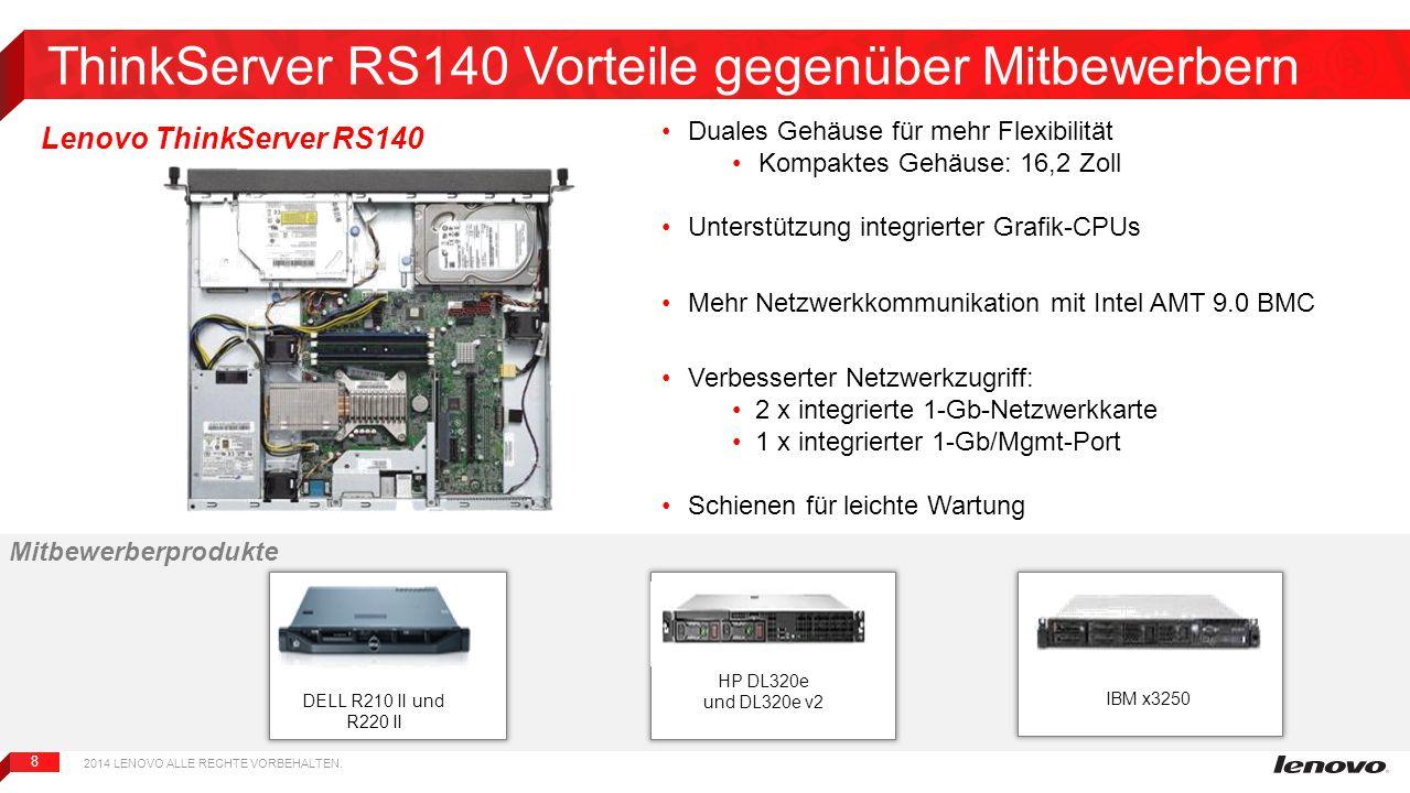 8 ThinkServer RS140 Vorteile gegenüber Mitbewerbern DELL R210 II und R220 II HP DL320e und DL320e v2 IBM x3250 Duales Gehäuse für mehr Flexibilität Ko