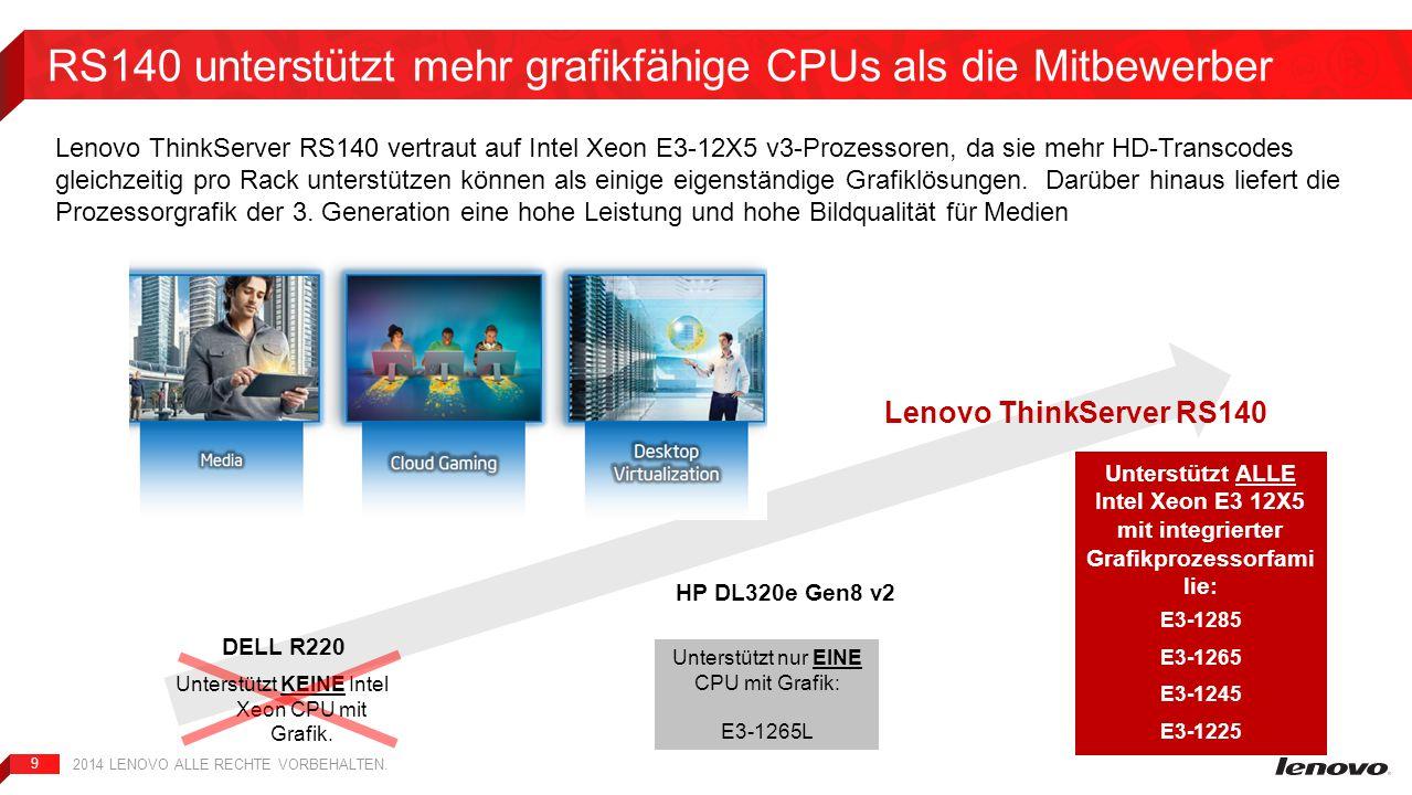 9 RS140 unterstützt mehr grafikfähige CPUs als die Mitbewerber 2014 LENOVO ALLE RECHTE VORBEHALTEN. Unterstützt nur EINE CPU mit Grafik: E3-1265L Unte