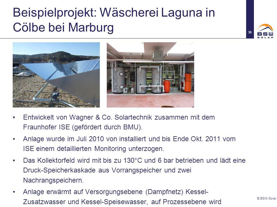 Beispielprojekt: Wäscherei Laguna in Cölbe bei Marburg © BSW-Solar 36 Entwickelt von Wagner & Co. Solartechnik zusammen mit dem Fraunhofer ISE (geförd
