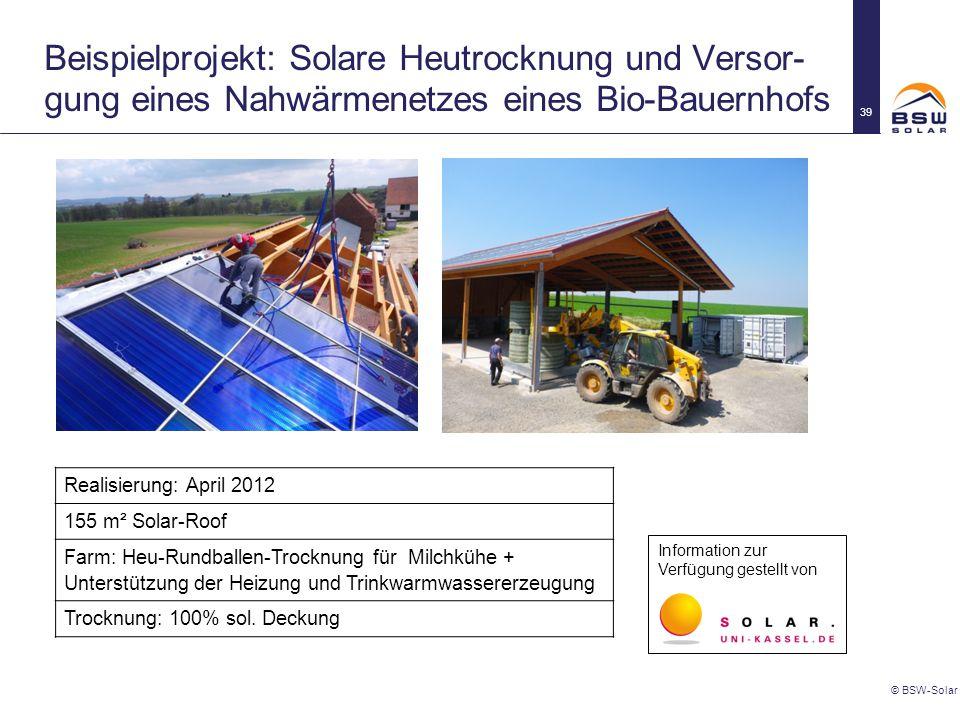 Beispielprojekt: Solare Heutrocknung und Versor- gung eines Nahwärmenetzes eines Bio-Bauernhofs © BSW-Solar 39 Realisierung: April 2012 155 m² Solar-R
