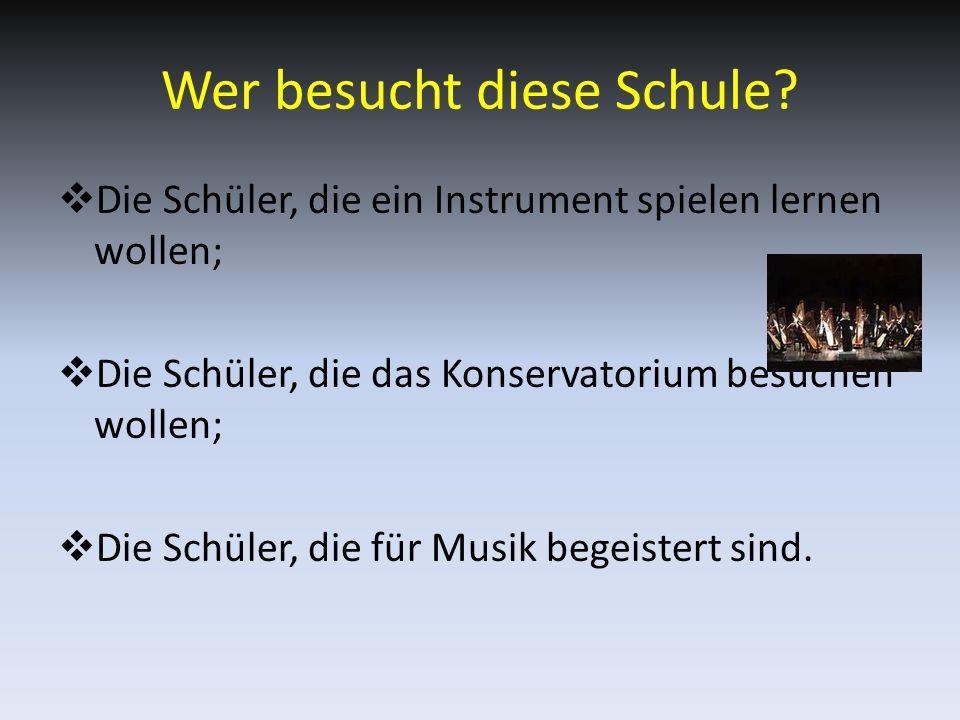 Die Fächer  In dieser Schule lernt man die normalen Fächer  Man macht auch Geschichte der Musik und Musiktheorie  Chor und Orchester