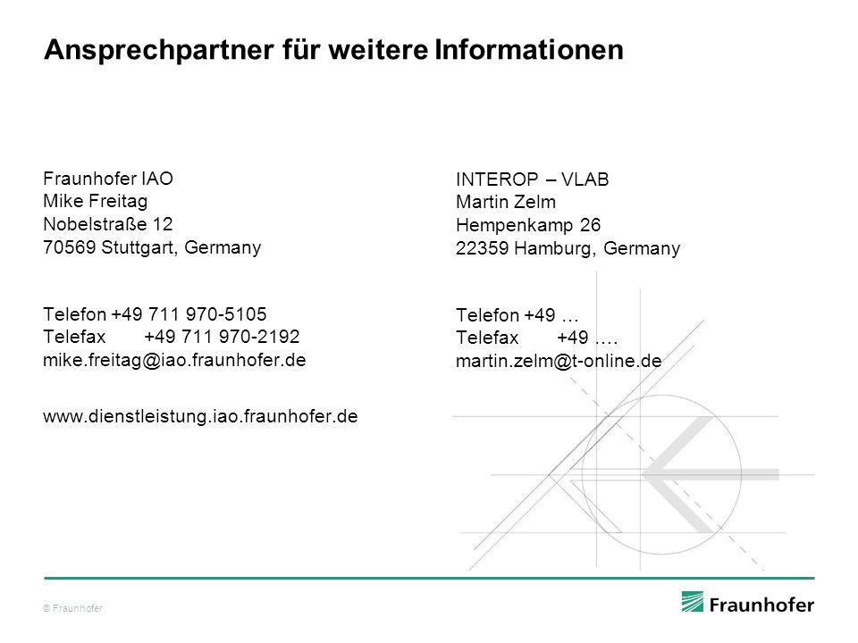 © Fraunhofer Ansprechpartner für weitere Informationen Fraunhofer IAO Mike Freitag Nobelstraße 12 70569 Stuttgart, Germany Telefon+49 711 970-5105 Telefax +49 711 970-2192 mike.freitag@iao.fraunhofer.de www.dienstleistung.iao.fraunhofer.de INTEROP – VLAB Martin Zelm Hempenkamp 26 22359 Hamburg, Germany Telefon+49 … Telefax +49 ….