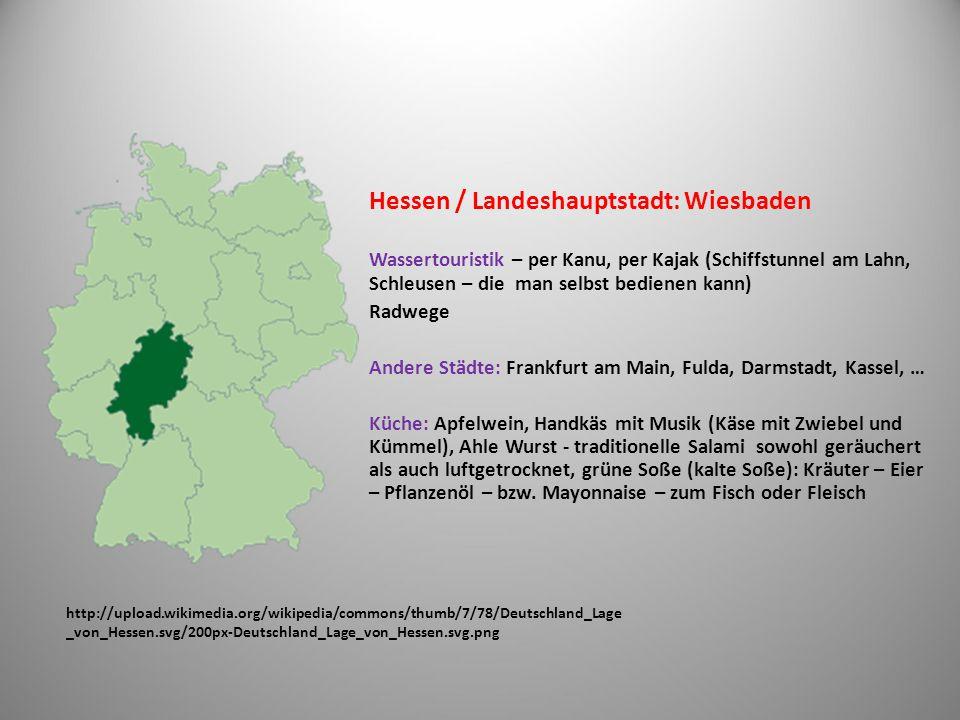 http://upload.wikimedia.org/wikipedia/commons/thumb/9/9d/Deutschland_Lage _von_Th%C3%BCringen.svg/200px- Deutschland_Lage_von_Th%C3%BCringen.svg.png Thüringen / Landeshauptstadt: Erfurt Geografisch: Thüringer Wald, Harz Andere Städte: Altenburg (Skatspiel, Skatverband), Eisenach (Wartburg: UNESCO - Denkmal, Lutherstadt), Jena (optische Industrie), Weimar (Goethe-Schiller) Küche: Thüringer Rostbratwurst, Thüringer Klöße