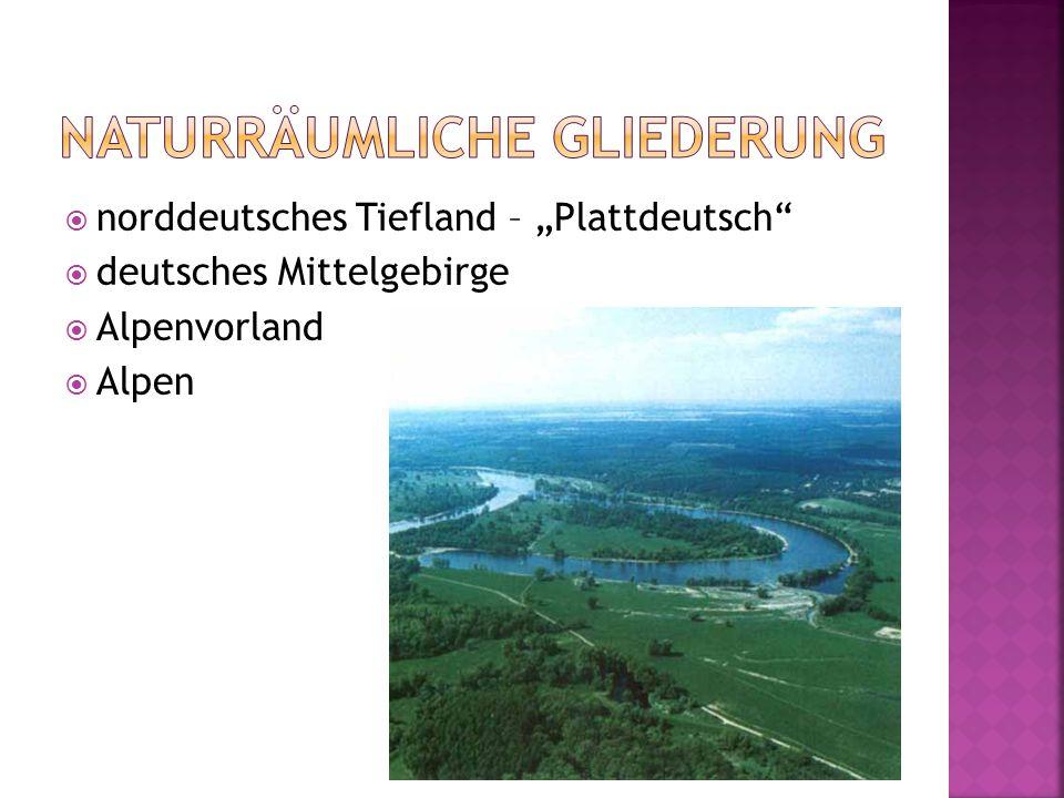 """ norddeutsches Tiefland – """"Plattdeutsch  deutsches Mittelgebirge  Alpenvorland  Alpen"""