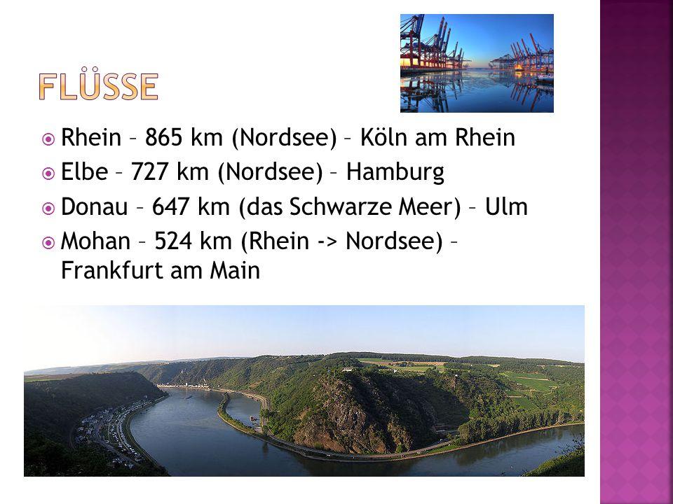  Rhein – 865 km (Nordsee) – Köln am Rhein  Elbe – 727 km (Nordsee) – Hamburg  Donau – 647 km (das Schwarze Meer) – Ulm  Mohan – 524 km (Rhein -> Nordsee) – Frankfurt am Main