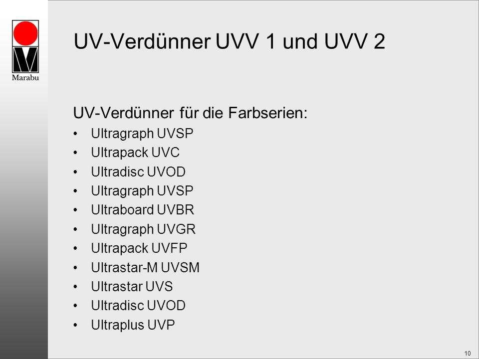 10 UV-Verdünner UVV 1 und UVV 2 UV-Verdünner für die Farbserien: Ultragraph UVSP Ultrapack UVC Ultradisc UVOD Ultragraph UVSP Ultraboard UVBR Ultragraph UVGR Ultrapack UVFP Ultrastar-M UVSM Ultrastar UVS Ultradisc UVOD Ultraplus UVP