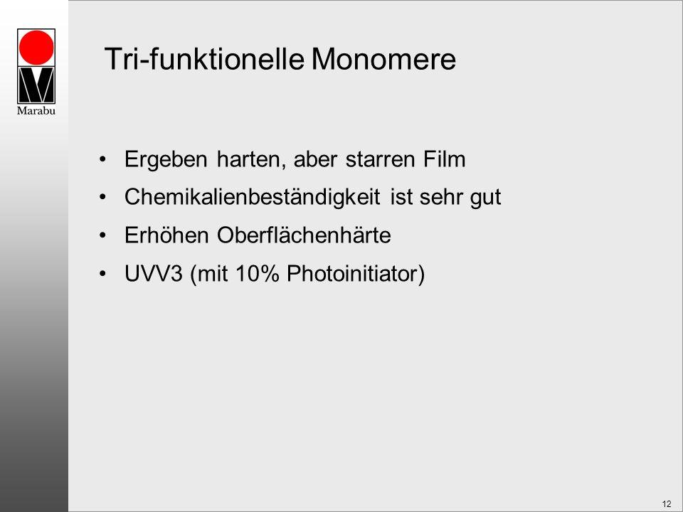 12 Tri-funktionelle Monomere Ergeben harten, aber starren Film Chemikalienbeständigkeit ist sehr gut Erhöhen Oberflächenhärte UVV3 (mit 10% Photoinitiator)