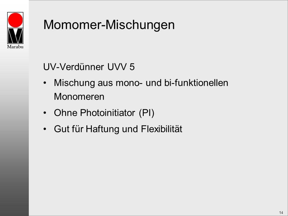 14 Momomer-Mischungen UV-Verdünner UVV 5 Mischung aus mono- und bi-funktionellen Monomeren Ohne Photoinitiator (PI) Gut für Haftung und Flexibilität