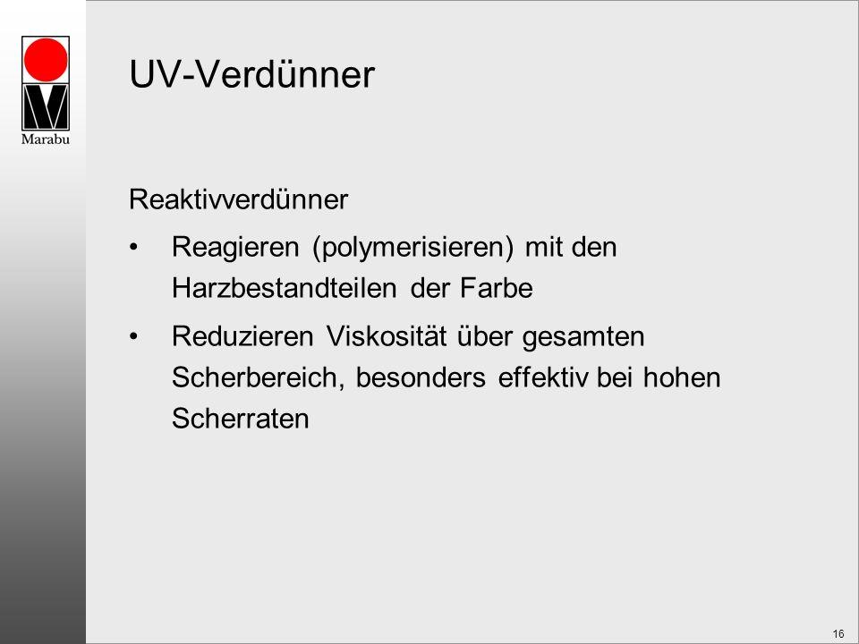 16 UV-Verdünner Reaktivverdünner Reagieren (polymerisieren) mit den Harzbestandteilen der Farbe Reduzieren Viskosität über gesamten Scherbereich, besonders effektiv bei hohen Scherraten
