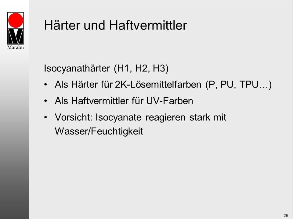 29 Härter und Haftvermittler Isocyanathärter (H1, H2, H3) Als Härter für 2K-Lösemittelfarben (P, PU, TPU…) Als Haftvermittler für UV-Farben Vorsicht: Isocyanate reagieren stark mit Wasser/Feuchtigkeit