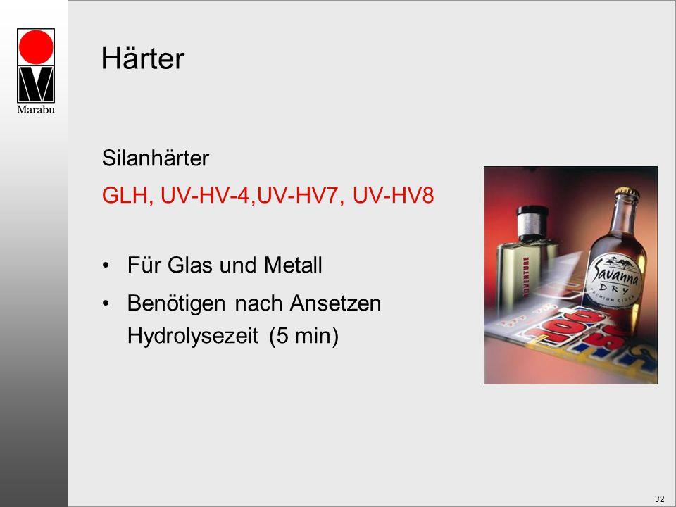 32 Härter Silanhärter GLH, UV-HV-4,UV-HV7, UV-HV8 Für Glas und Metall Benötigen nach Ansetzen Hydrolysezeit (5 min)