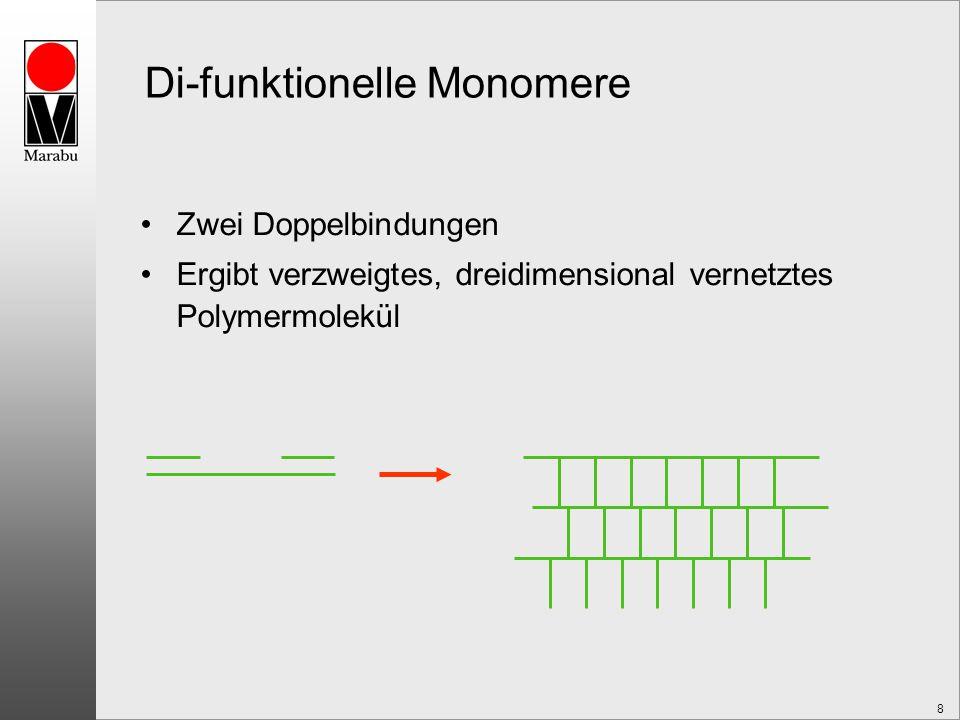 8 Di-funktionelle Monomere Zwei Doppelbindungen Ergibt verzweigtes, dreidimensional vernetztes Polymermolekül