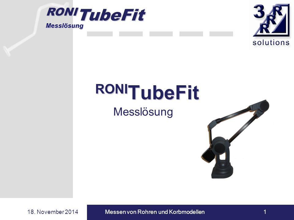 RONI TubeFit Messlösung 18. November 2014Messen von Rohren und Korbmodellen1 RONI TubeFit Messlösung