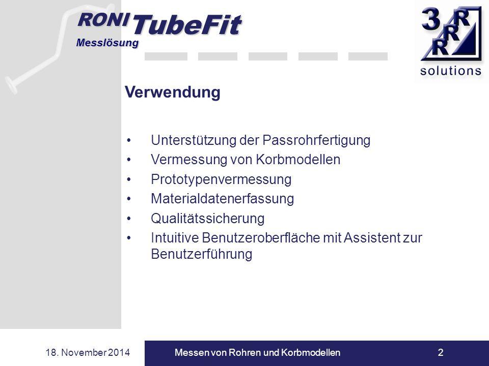 RONI TubeFit Messlösung 18. November 2014Messen von Rohren und Korbmodellen2 Globalkonzept Verwendung Unterstützung der Passrohrfertigung Vermessung v