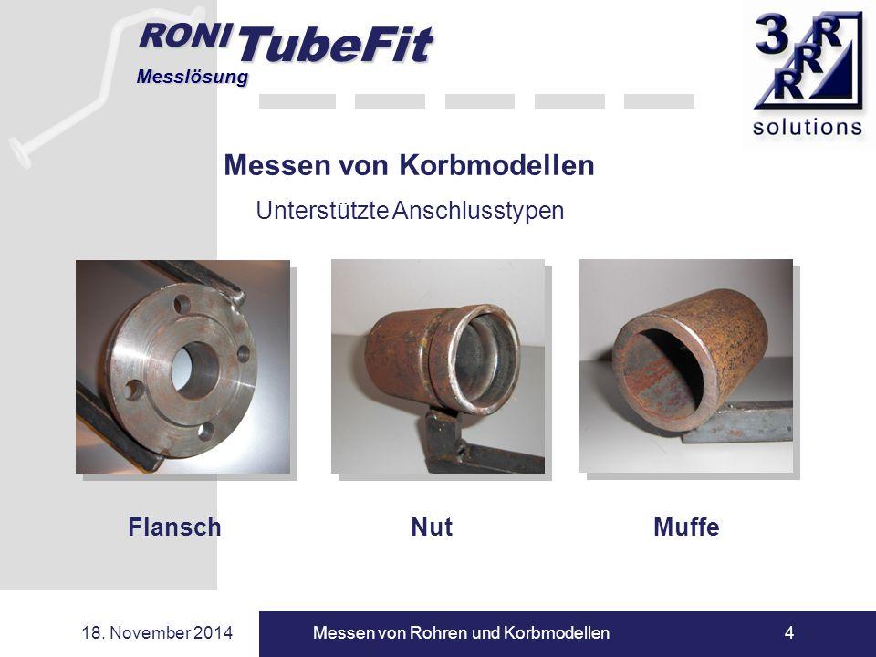 RONI TubeFit Messlösung 18. November 2014Messen von Rohren und Korbmodellen4 Messen von Korbmodellen Unterstützte Anschlusstypen Flansch NutMuffe