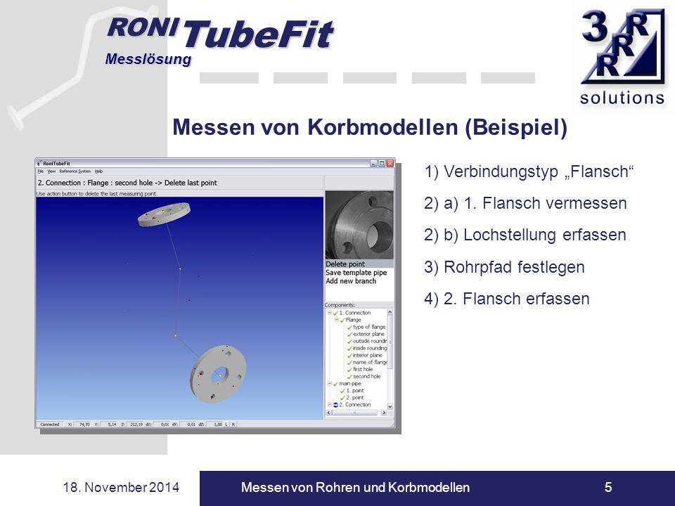 """RONI TubeFit Messlösung 18. November 2014Messen von Rohren und Korbmodellen5 Messen von Korbmodellen (Beispiel) 1) Verbindungstyp """"Flansch"""" 2) a) 1. F"""